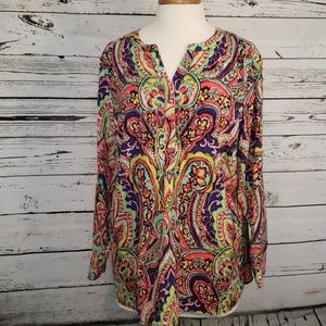 Talbots Print Pullover Women Petites Top